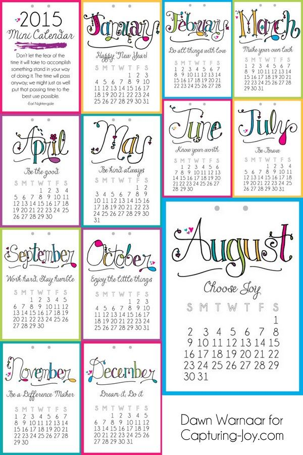 Calendar Inspiration 2015 : Printable mini calendar motivational message