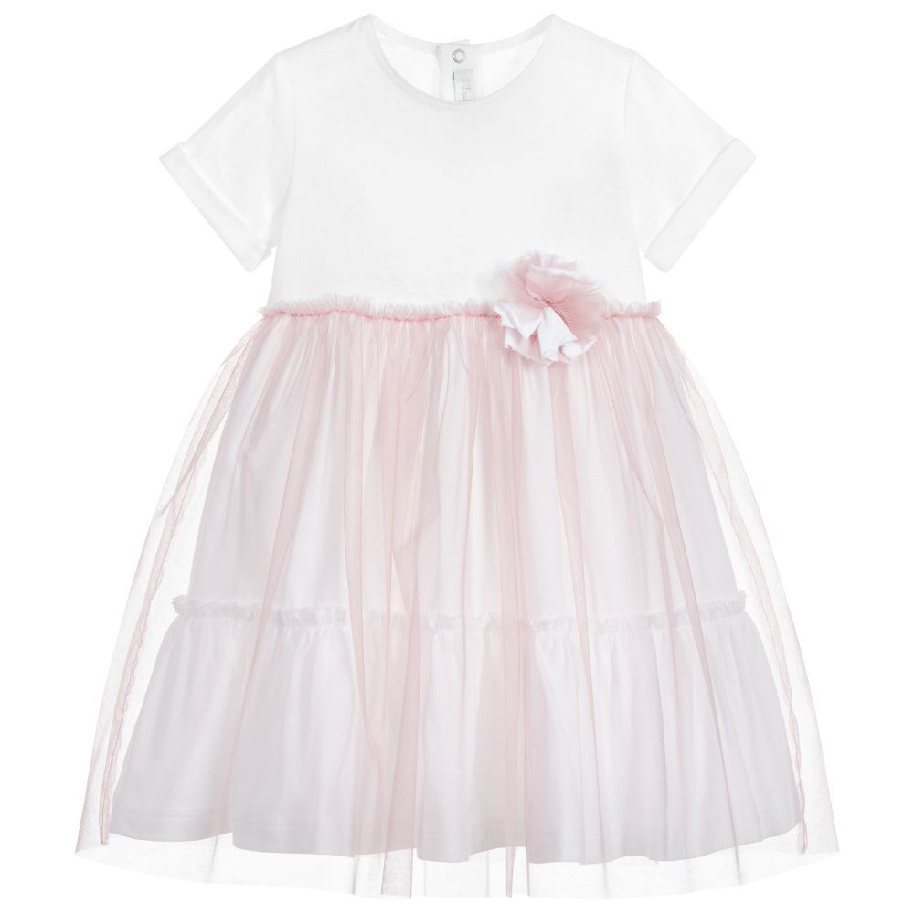 Soft and stretchy this dress for little girls by il gufo is made in
