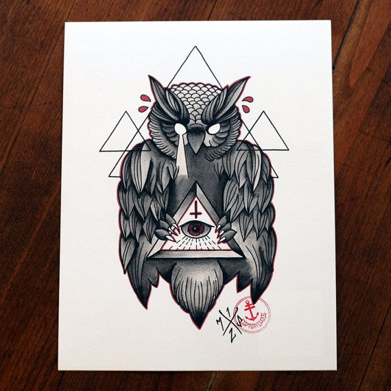 Owl Of Wisdom Tattoo Print Artworks By Captain Chaos Pinterest