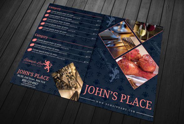 Bi-fold Food Menu Template Graphicriver Portfolio Pinterest - food menu template