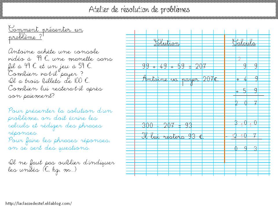Atelier Resolution De Problemes Cycle 3 La Classe De Stefany Resolution De Probleme Probleme Cm1 Resolution