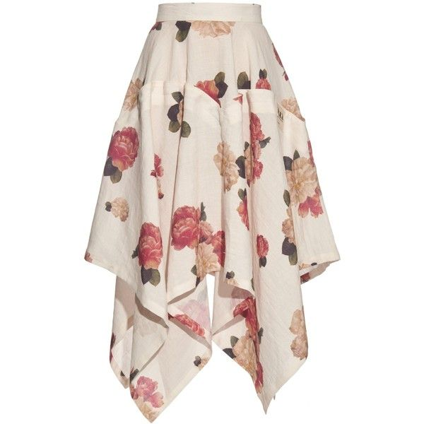 A.W.A.K.E. Flora-print handkerchief-hem skirt (£485) ❤ liked on Polyvore featuring skirts, pink floral skirt, floral printed skirt, handkerchief hem skirt, multicolor skirt and foldover skirt