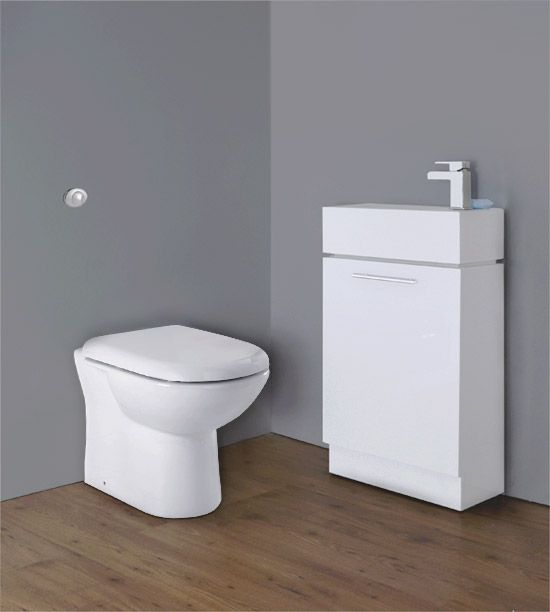 Premier   Cubix Gloss White Vanity Unit With Concealed Cistern, D Shaped  BTW Pan