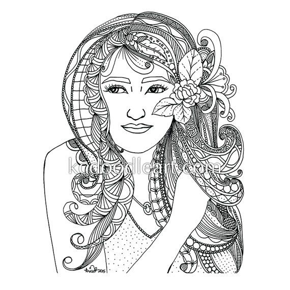 instant digital download - adult coloring page - zendoodles - face by kcdoodleart on Etsy