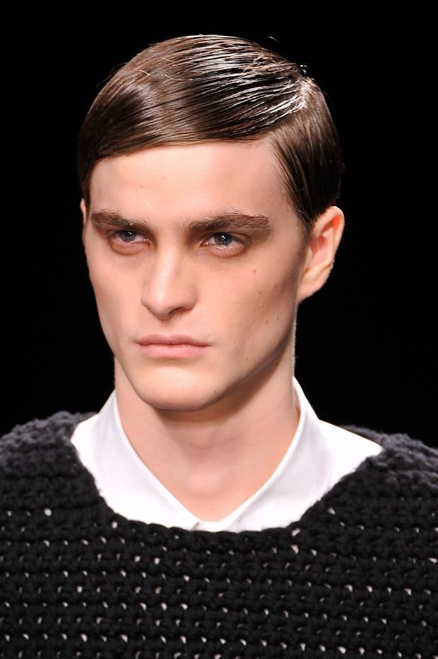 Straight Hair Slicked To The Side With A Defined Parting But No Volume At Iceberg Fall 2013