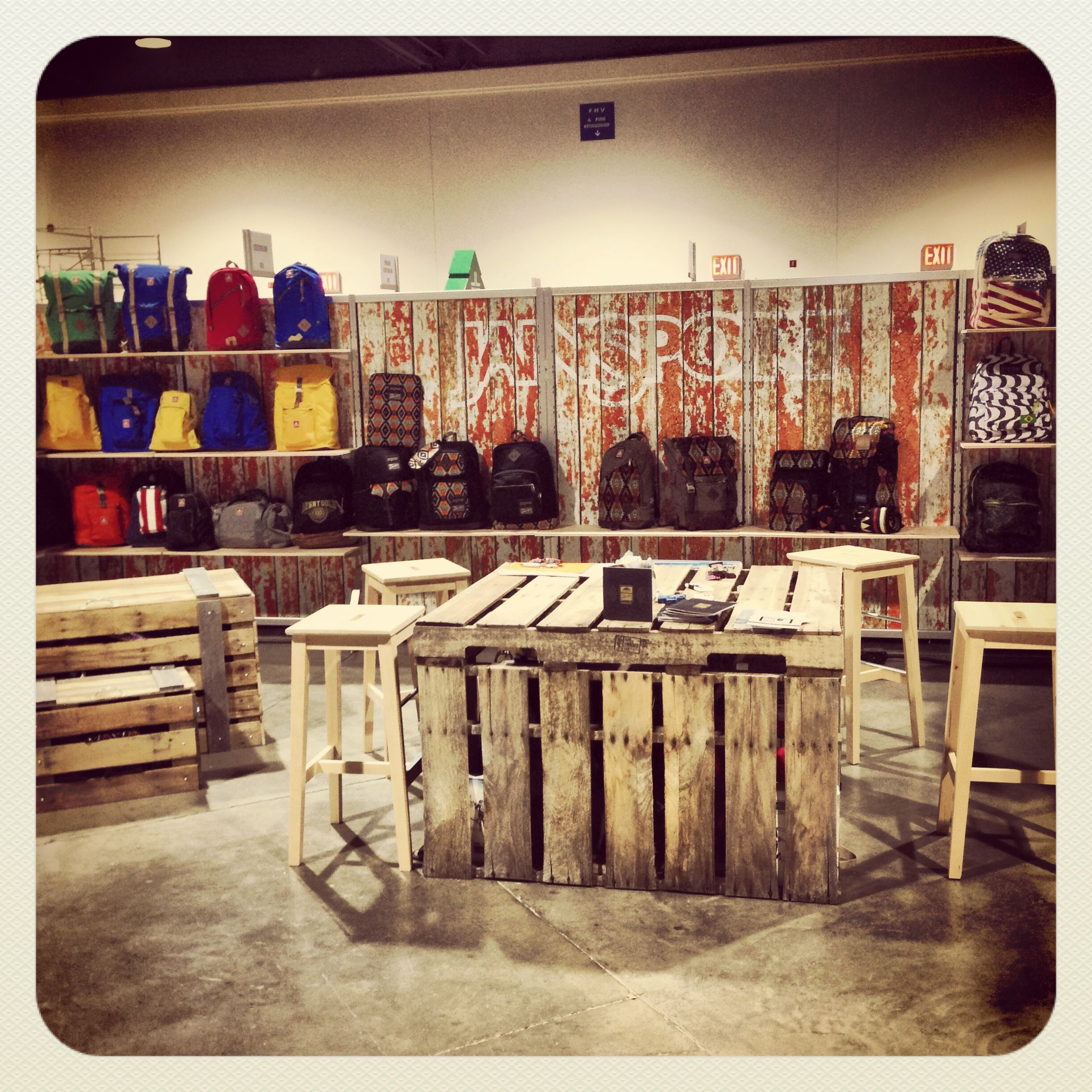 Wooden Exhibition Booth : Jansport at agenda trade show in long beach booth looked