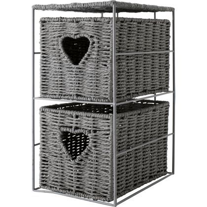 Eden 2 Drawer Wicker Heart Storage Unit Grey Home