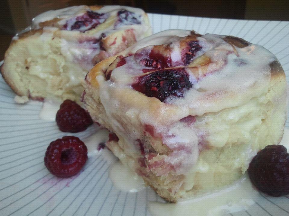 Raspberry Rolls with Lemon Vanilla Icing