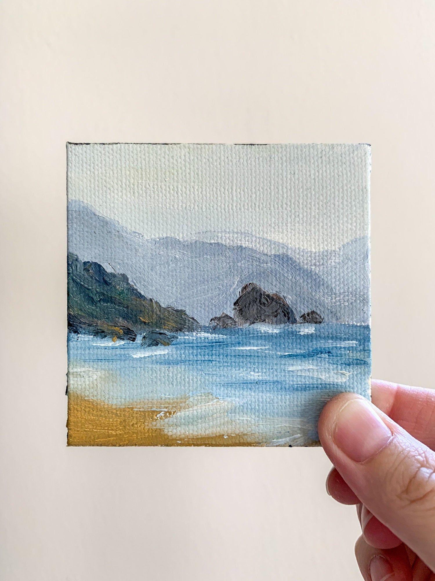 Mini Oregon Landscape Painting Coastal Art Ocean Waves Decor 3x3 Tiny Oil On Canvas Affordable Gifts Under 20 Mini Canvas Art Small Canvas Art Small Canvas Paintings