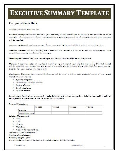 one page executive summary template