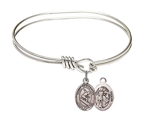St Christopher Volleyball Charm On A 8 1//2 Inch Round Double Loop Bangle Bracelet