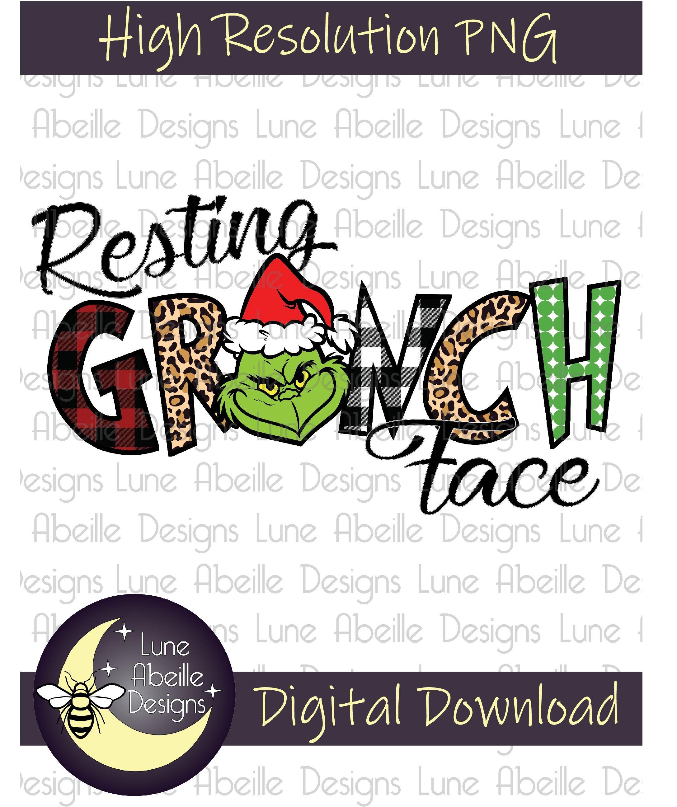 Resting Grinch Face Digital Design Png Sublimation Tshirt Design Digital Design Design Christmas Designs