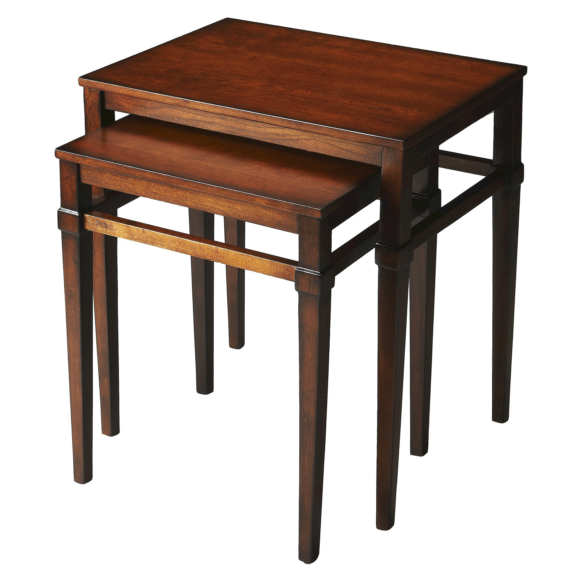 Nolan Antique Cherry End Tables Nest Butler Specialty Red