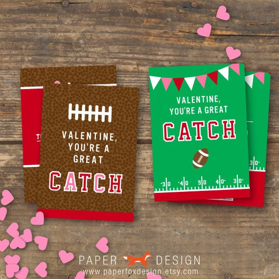 Valentines Day Card Set Kids Football DIY by PaperFoxDesign