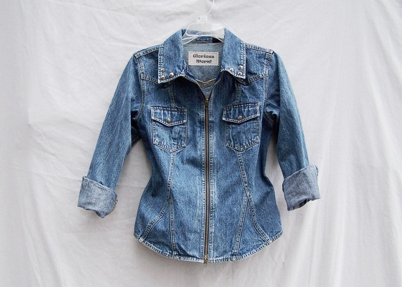 studded blue jean jacket | fitted blue denim jacket upcycled cone ...