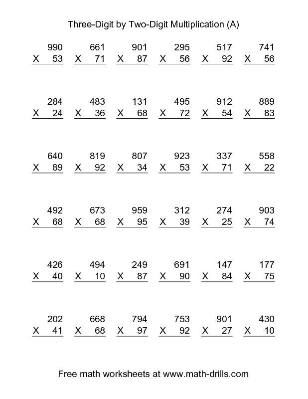 Multiplication Worksheet Multiplying ThreeDigit by TwoDigit – Math Facts Multiplication Worksheet