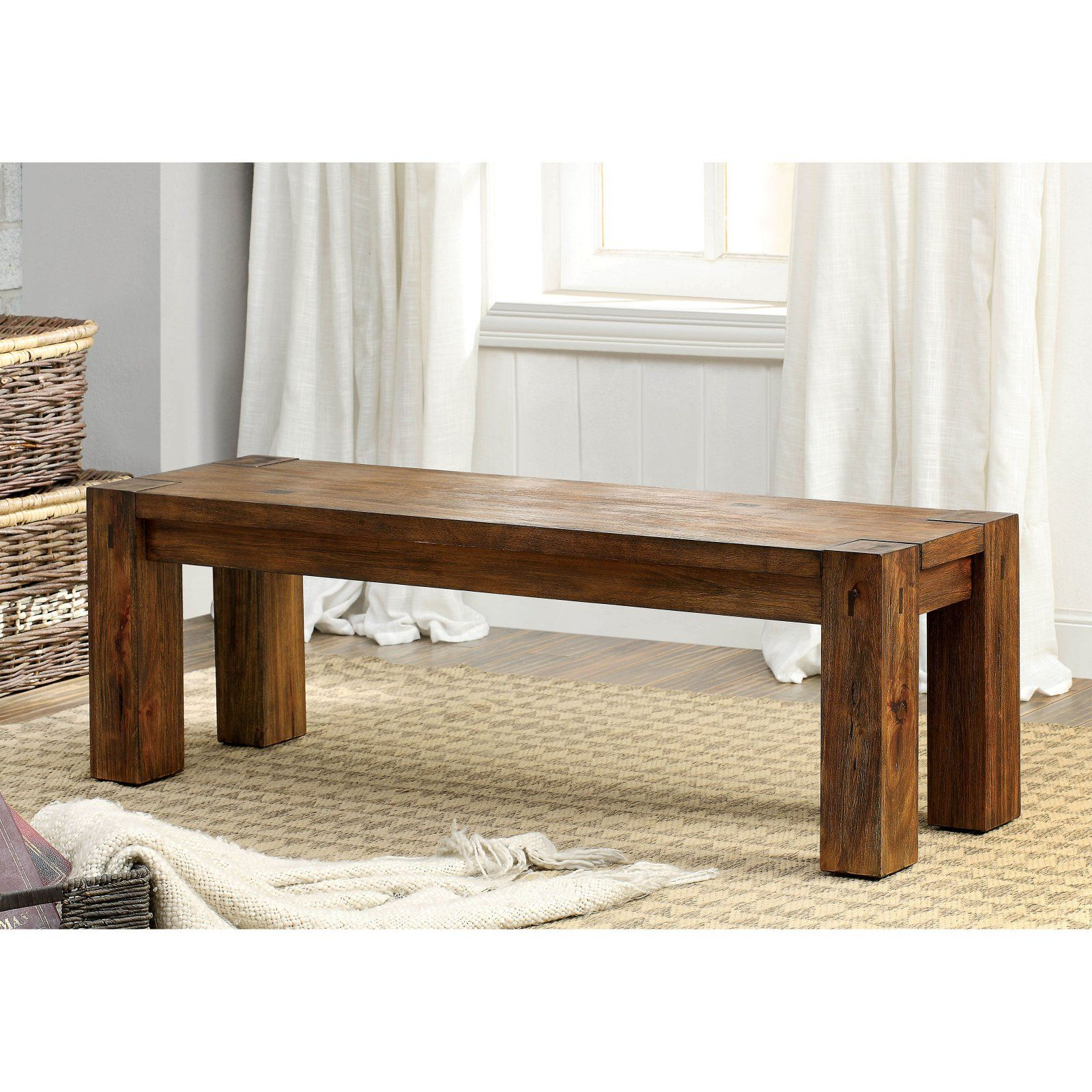 Furniture Of America Branson Dining Side Bench Wooden Dining