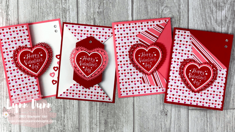 4 Simple Fun Fold Cards To Make For Valentine S Day Lynn Dunn Stampin Up Valentine Cards Fun Fold Cards Valentine Day Cards