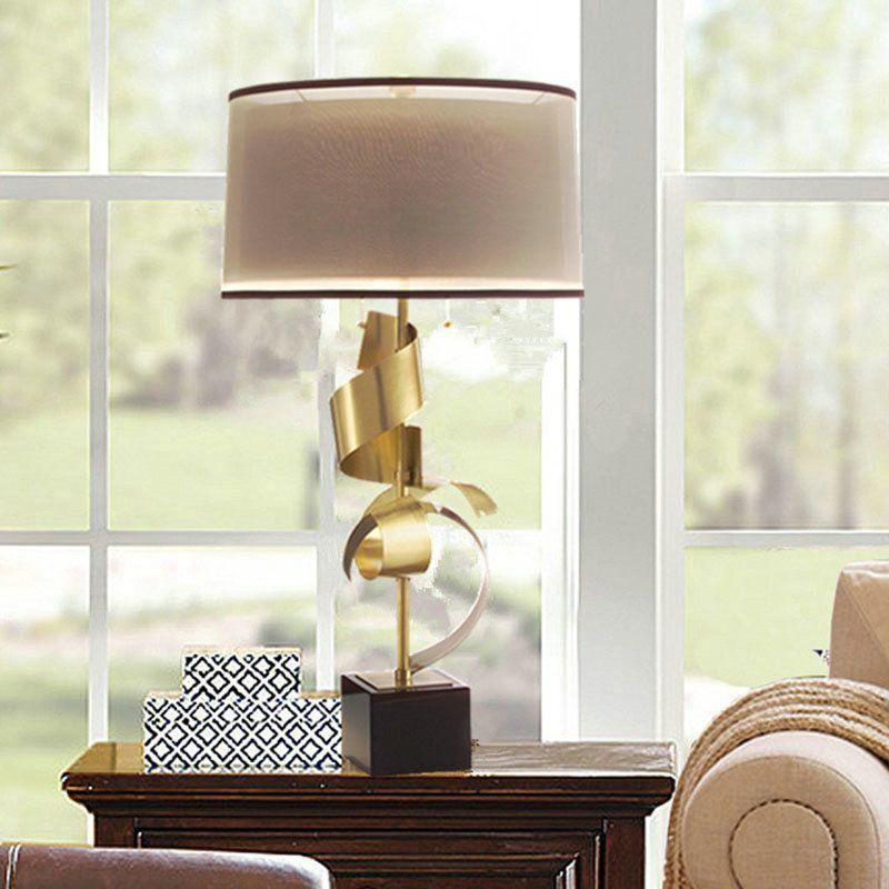 Tischleuchte Modern Mit Marmor Fuss 1 Flammig Im Schlafzimmer Lampe A Poser Lampes De Table Abat Jour