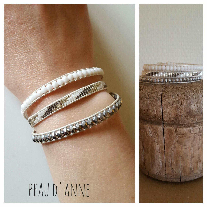 bracelet wrap 3 tours perles miyuki et facette de bohème  Bracelet par  peaud,anne
