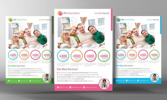 Life Insurance Flyer Template by Business Templates on Creative - medical brochures templates