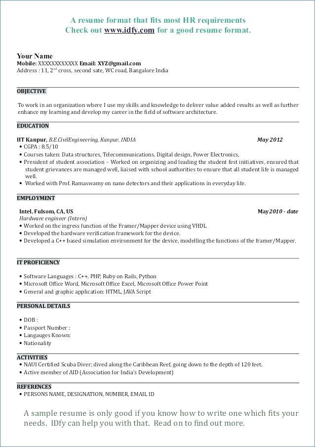Objective in resume for mba admission