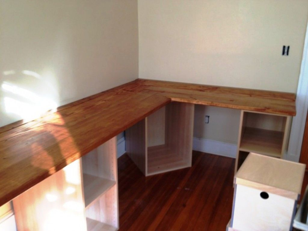 Build a l shaped desk google search create pinterest for Home office corner desk ideas