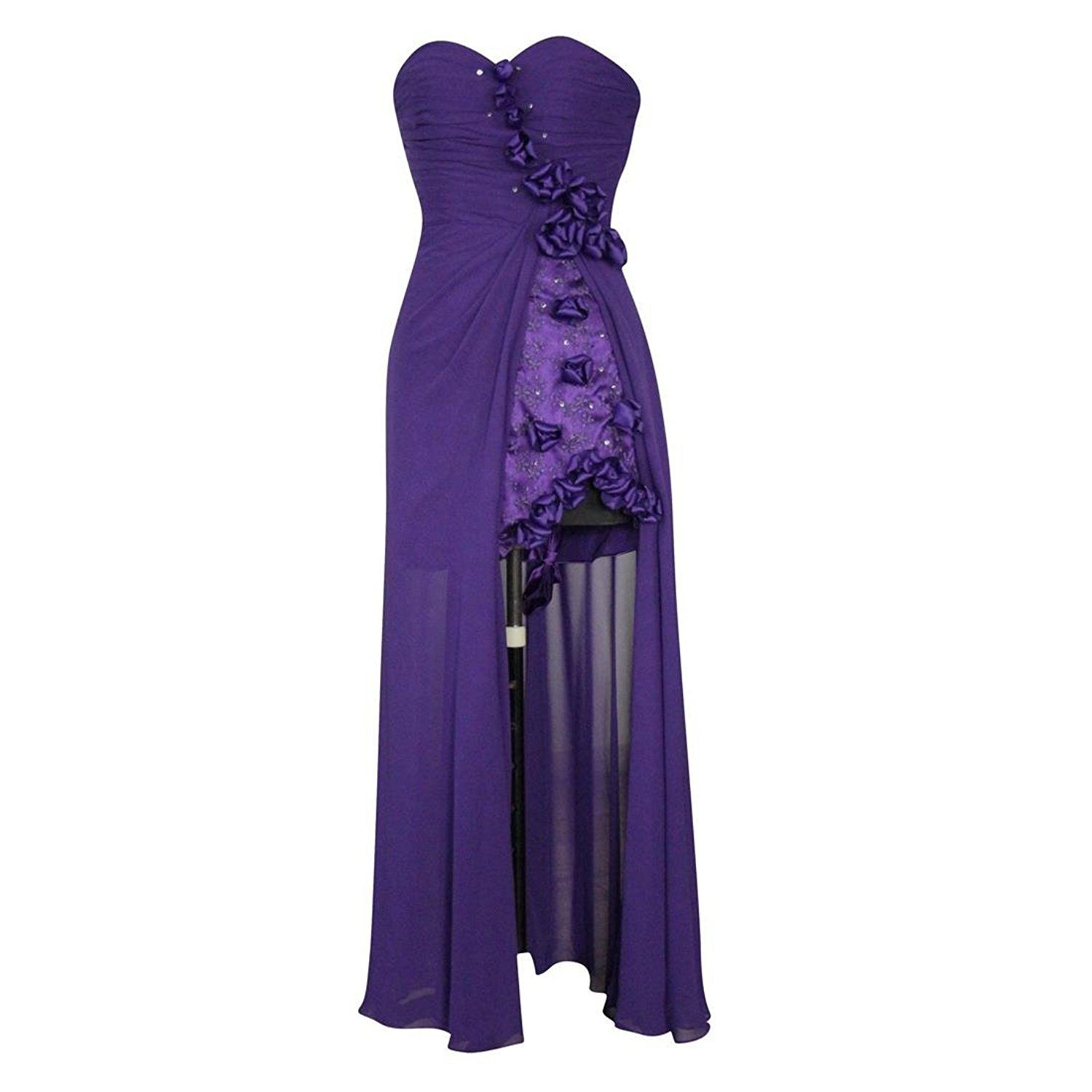 Purple Chiffon Strapless Lace Hi-lo Beads Flowers Prom Dresses Evening Gown Dresses -- Additional details at the pin image, click it  : cocktail dresses
