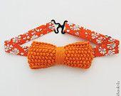 Orange Bowtie - Noeud papillon orange / BAAL / knit bowtie with Liberty collar - noeud papillon en tricot et Liberty