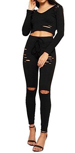 acd2cfa5ad8 Remelon Womens 2 Piece Bodycon Outfit Hooded Hollow Out Long Sleeve Crop  Top Long Pants Jumpsuit Set
