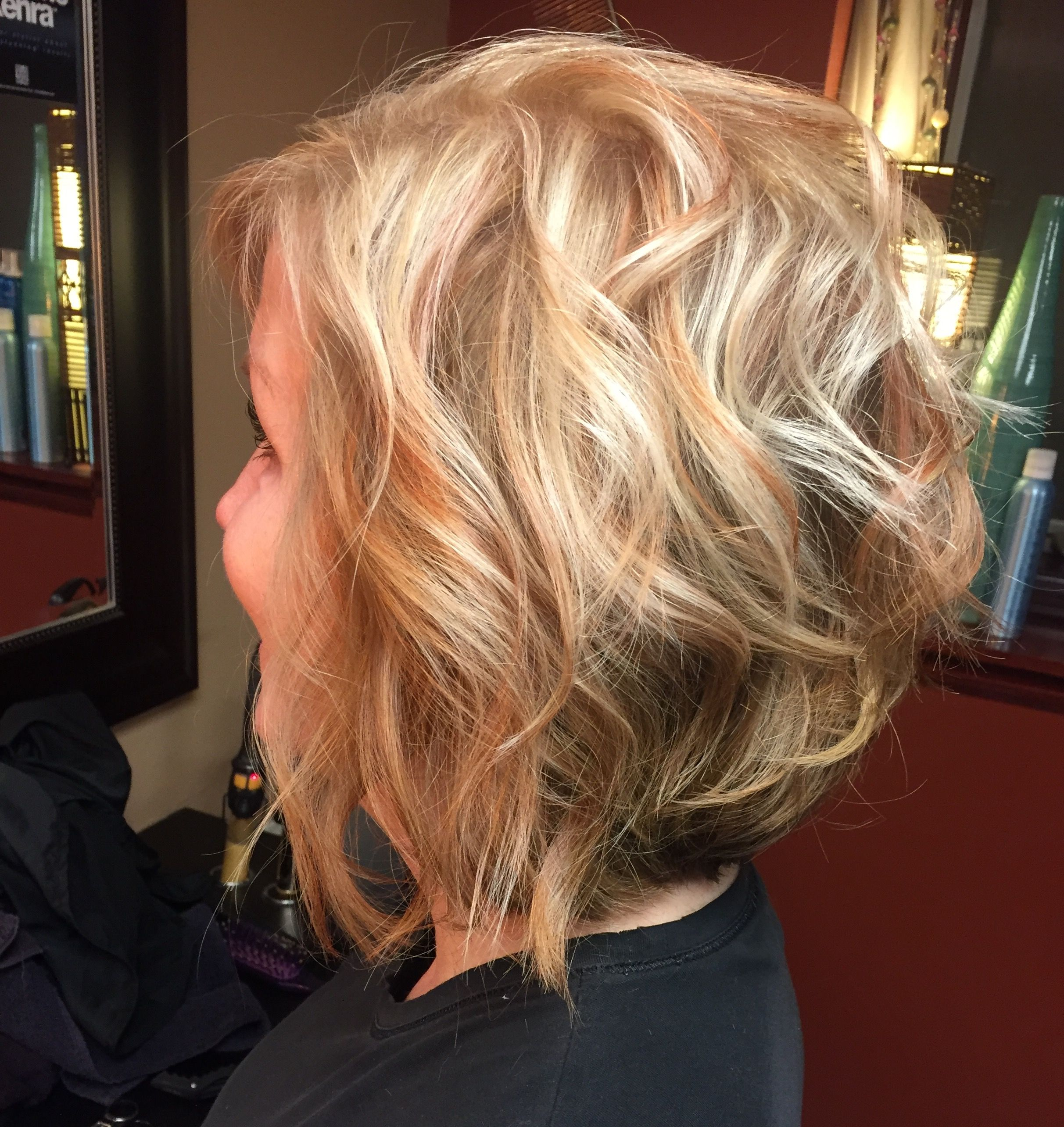 Blonde inverted bob with copper lowlights Hair