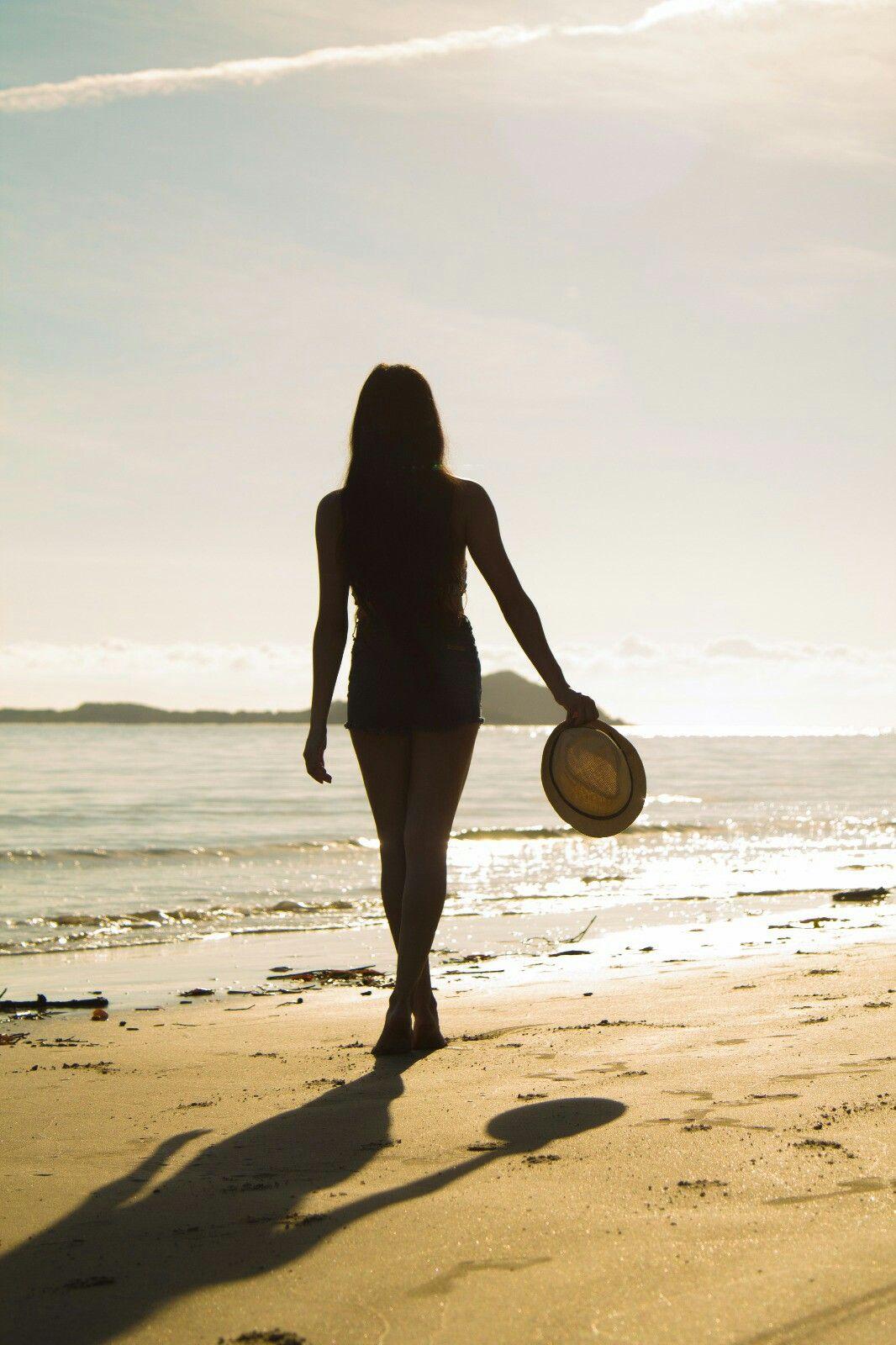 Praia, fotografia do nascer do sol, silhueta.