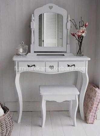 Meja Rias Minimalis Duco Cat Putih Dengan Desain Yang Mewah Dan Kualitas Ekspor Furniture Kamar Terbaru White Dressing Tables Furniture White Wooden Floor