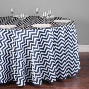 118 in. Round Chevron Satin Tablecloth Navy Blue