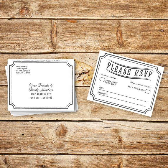 RSVP DIY Wedding Template RSVP Postcard Template by