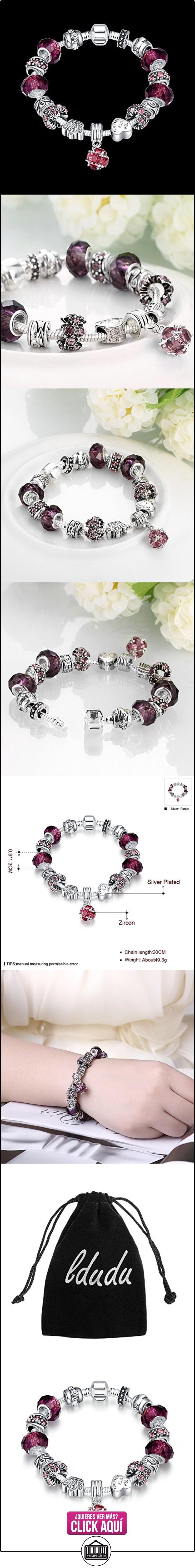 5a5577ea023a LDUDU® Pulsera charms de mujer plateado de plata con charms de cristal de  murano púrpura