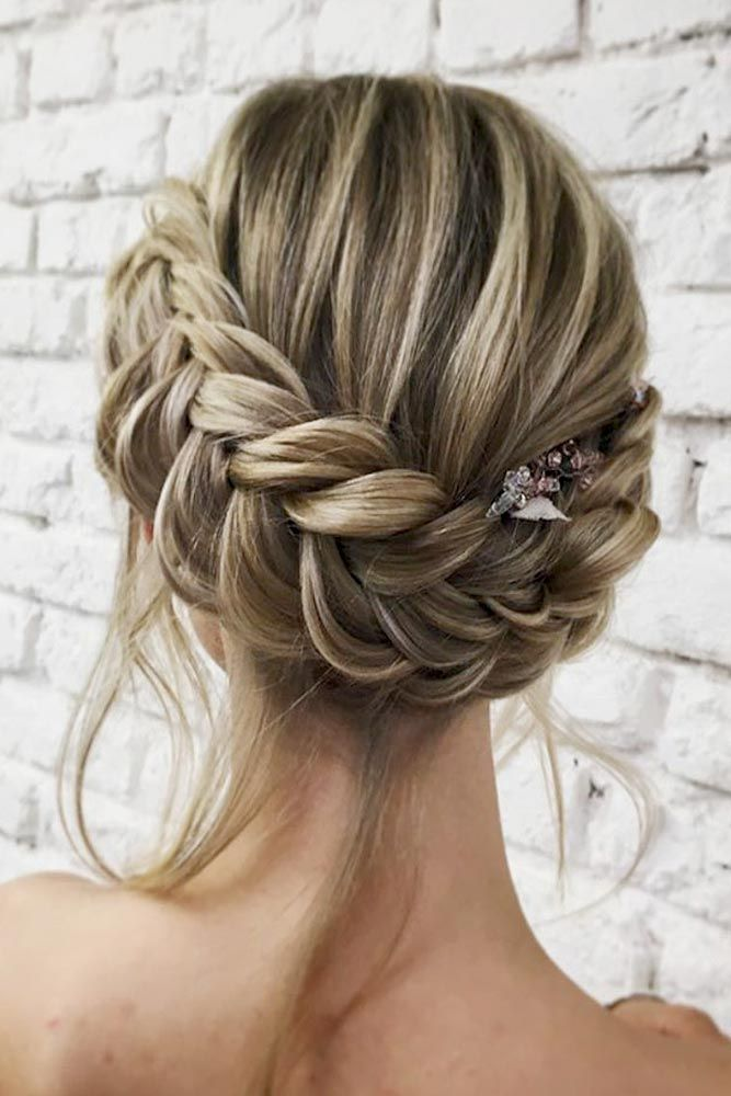 Dutch Braid Updo With Loose Locks Braided Hairstyles For Wedding
