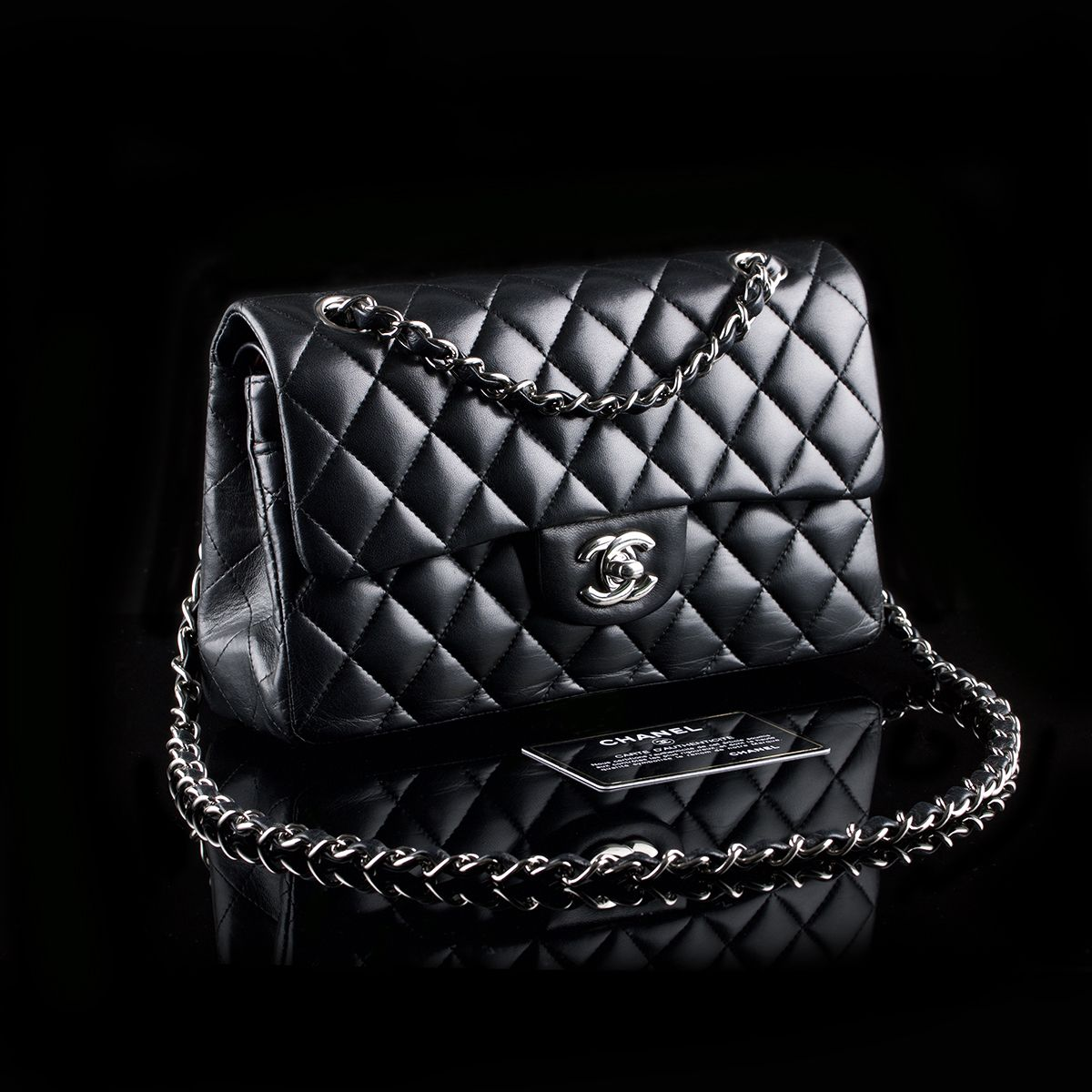 Second Hand Chanel 2 55 Timeless Classic Flap Small Black Lambskin 2 950 Luxury Bags Bags Classic Flap Small