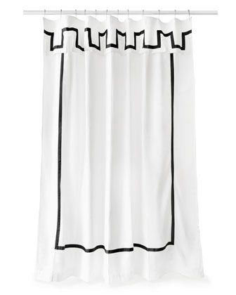 Jonathan Adler Santorini Black And White Shower Curtain White
