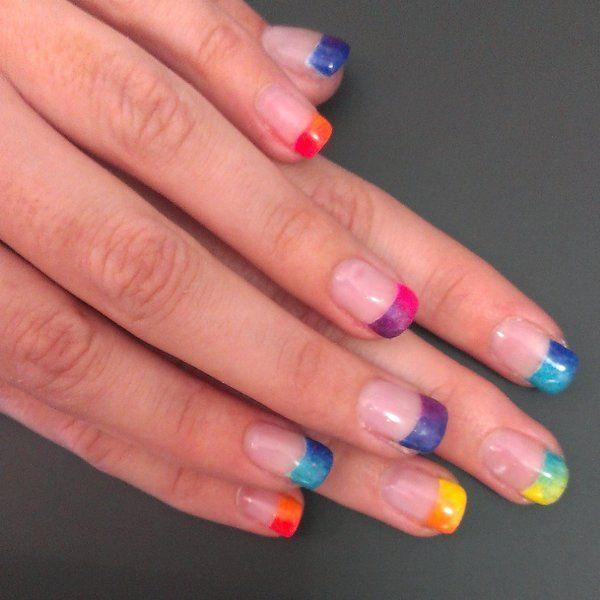 Rainbow ombr? nail art | {Creative Nails} | Pinterest ...