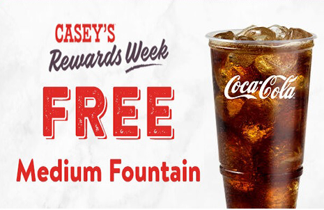 Free Medium Fountain Drink At Casey S General Store Fountain Drink Drinks Free
