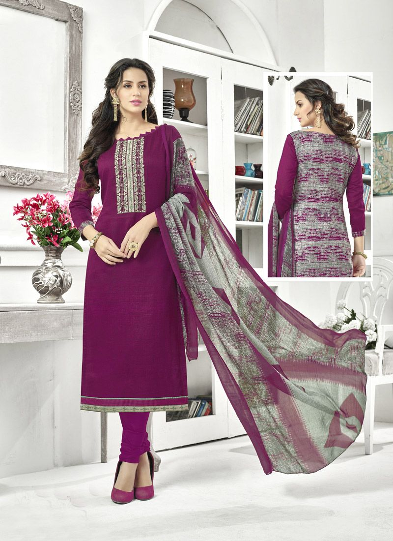 Purple Cotton Satin Casual Salwar Kameez