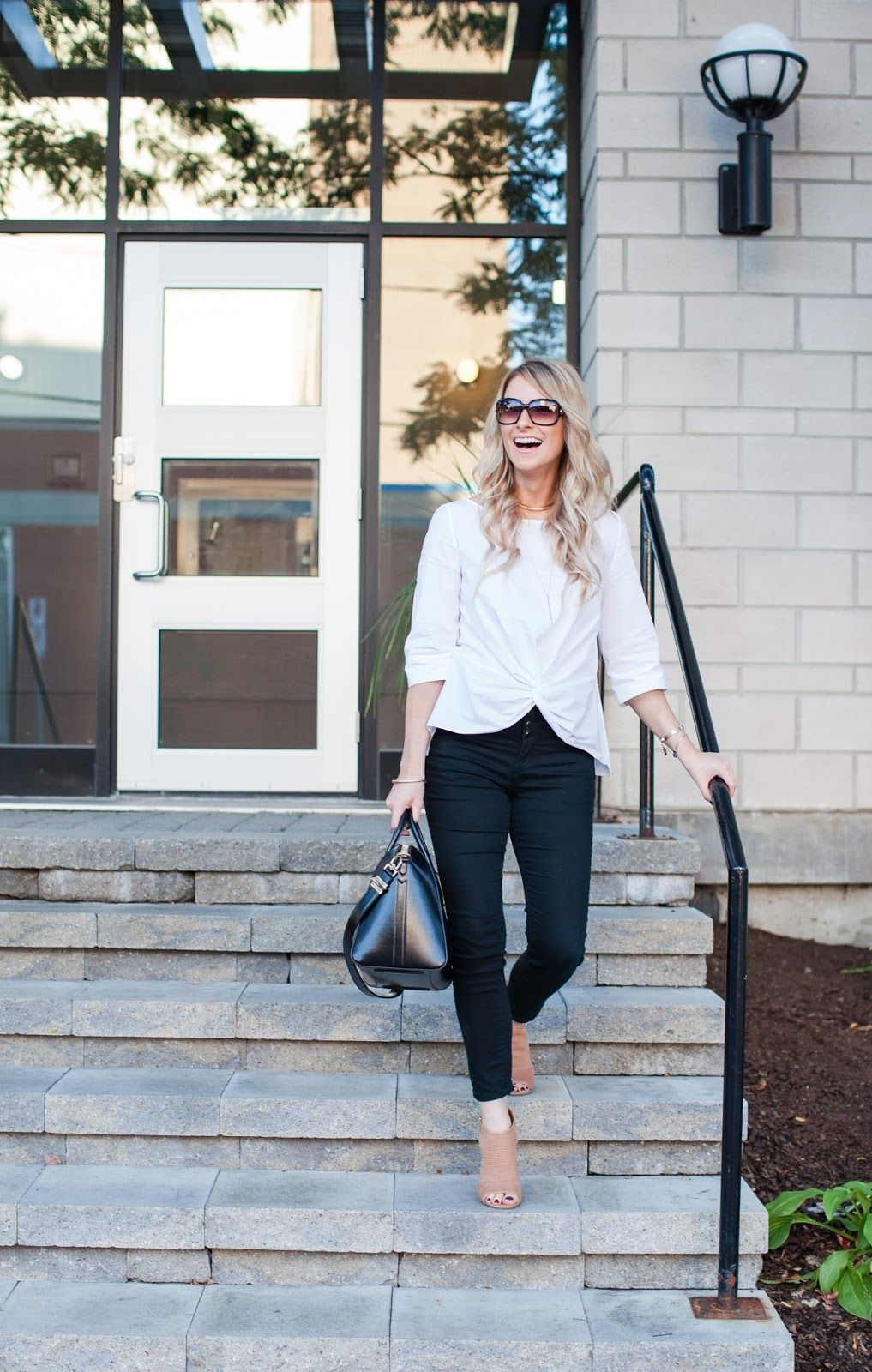 spring outfit ideas - perforated booties - black skinnies outfit - tie front top - givenchy antigona