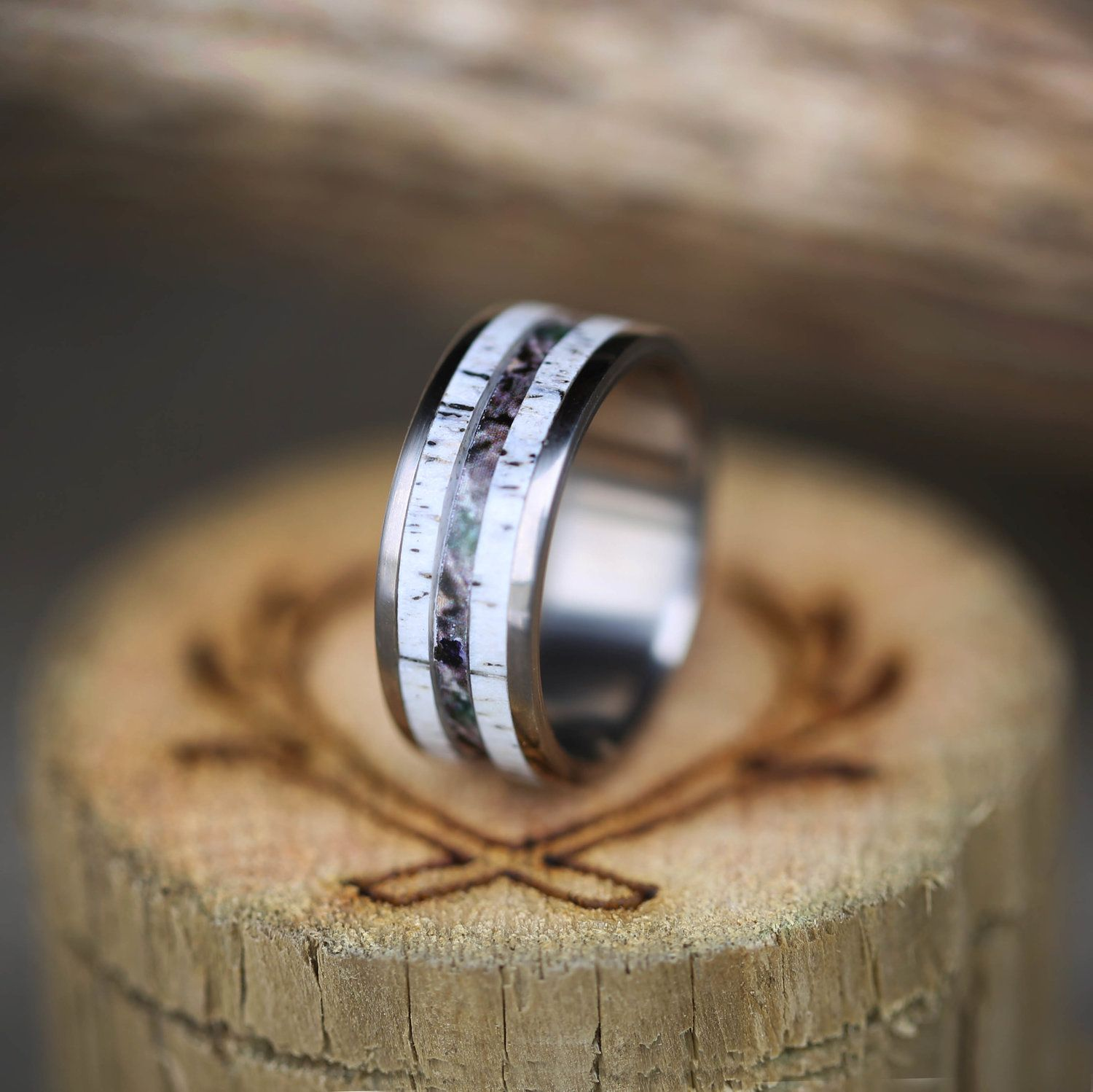 band of hammered inlay titanium antler rings wedding elk w personalized