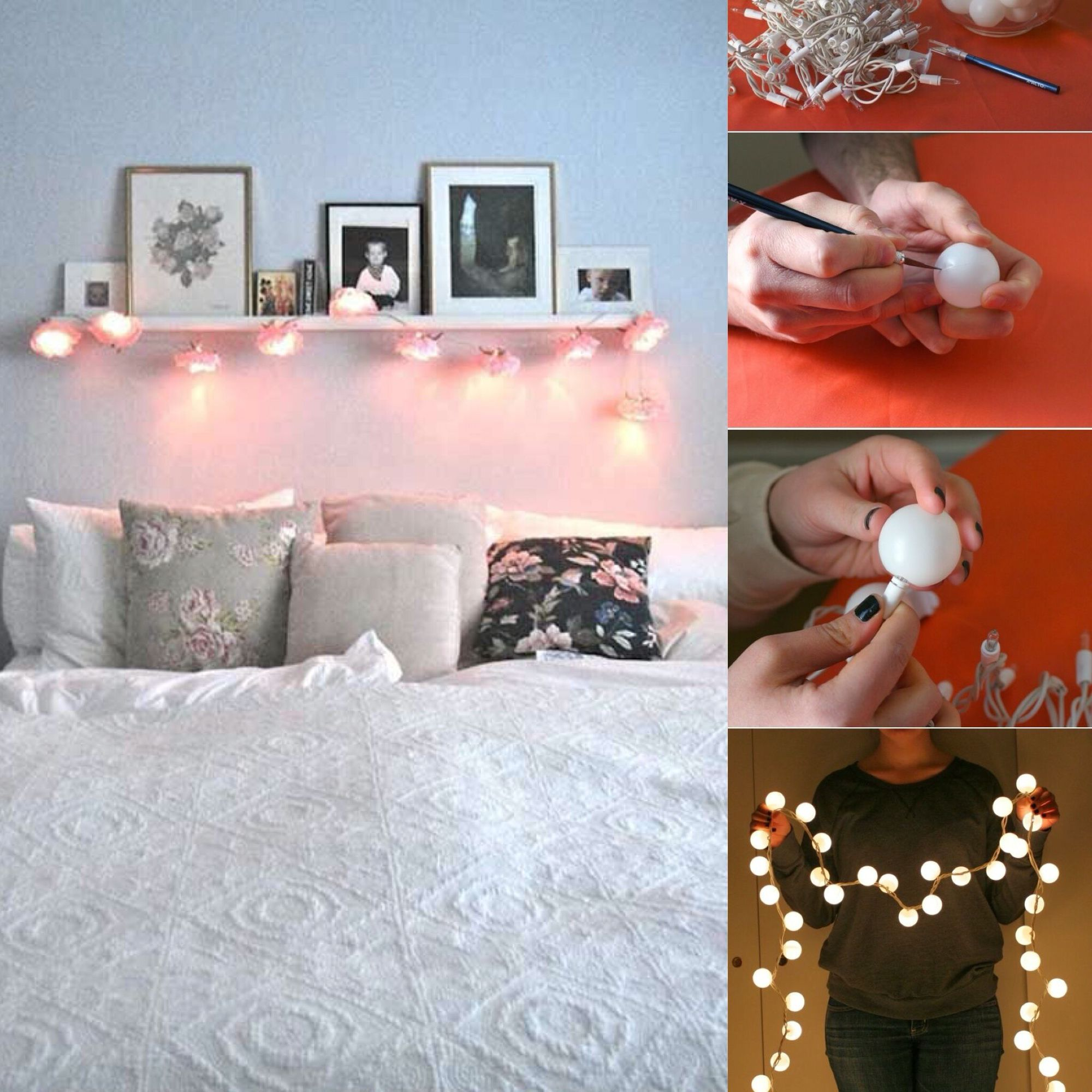 Love these ping pong ball lights above the bed So cozy