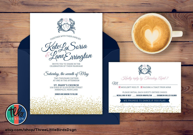 Maryland Crab Navy And Gold Glitter Wedding Invitation Gold Glitter