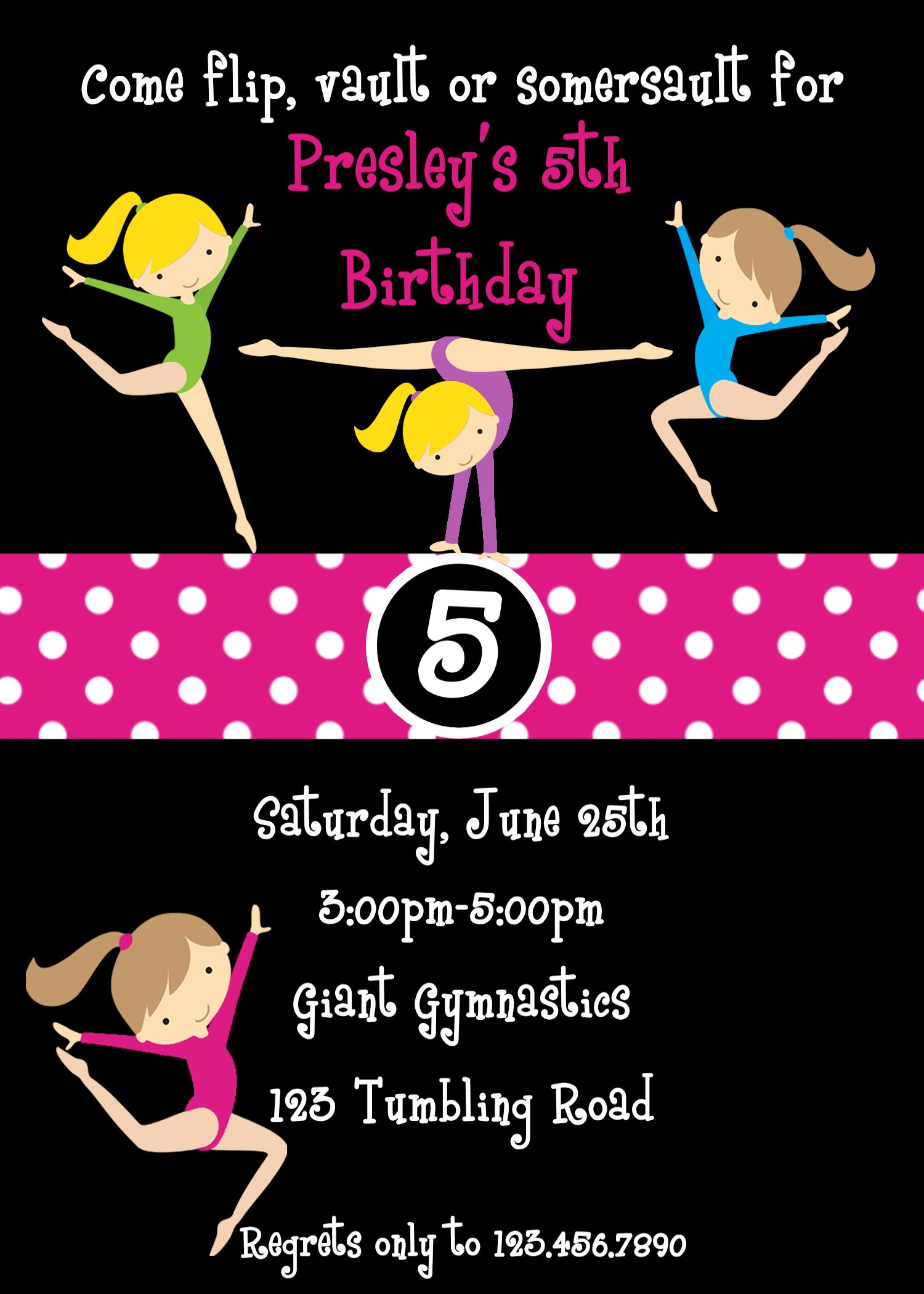 Marvellous Gymnastics Party Invitation Wording and gymnastics party ...