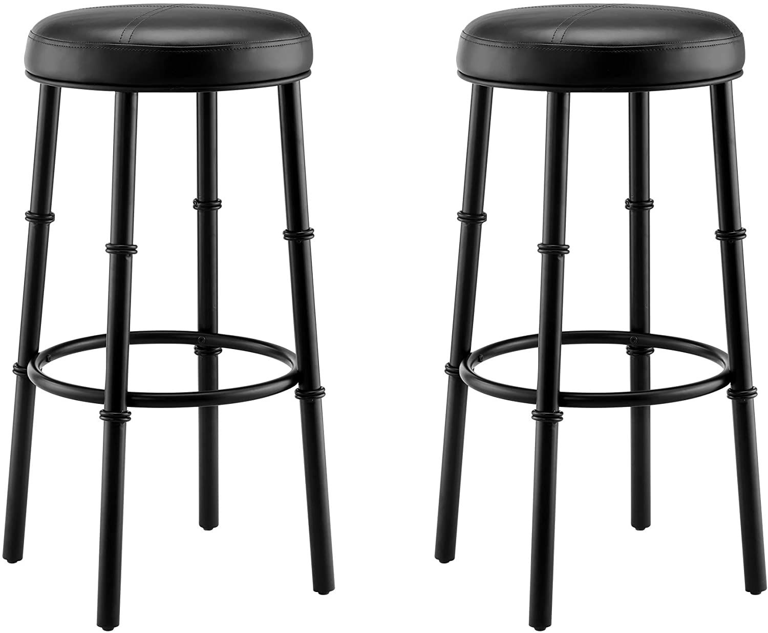 Round Black Metal Bar Stool Counter Height Bar Stools With Pu Leather Cushion Seat For Kicthen Bar Set Of 2 3 Bar Stools Metal Bar Stools Tall Bar Stools
