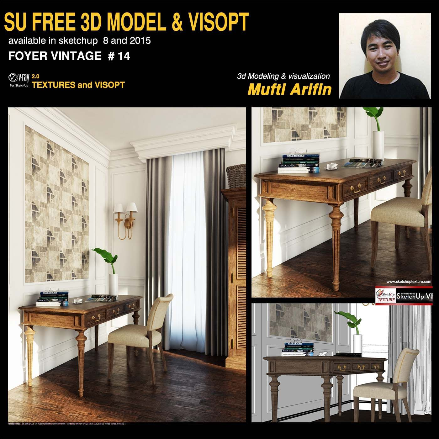 Free sketchup model foyer vintage #14 by Mufti Arifin-and -vray