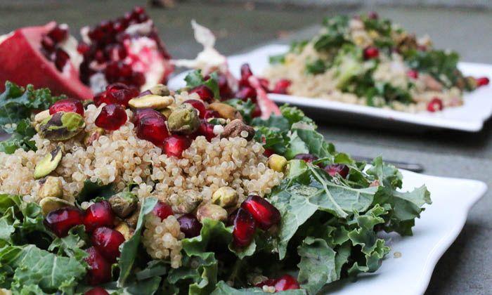 Antioxidant Kale, Pomegranate, and Quinoa Salad